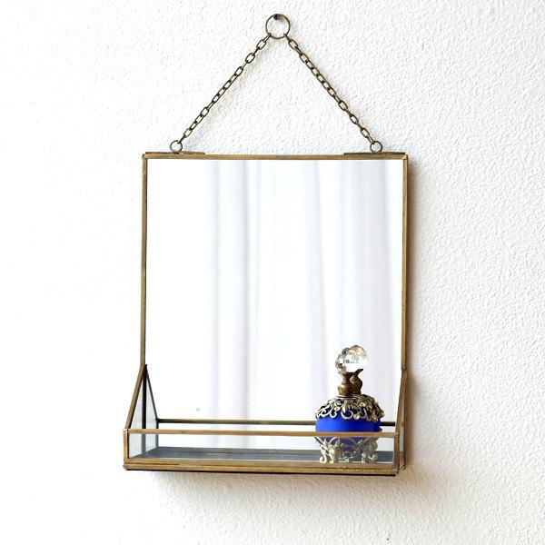鏡 壁掛けミラー アンティーク おしゃれ シンプル 真鍮 トレイ レトロ ウォールミラー 化粧 玄関 トイレ 吊り下げ トレー付 ブラスフレームミラー [kan0980]