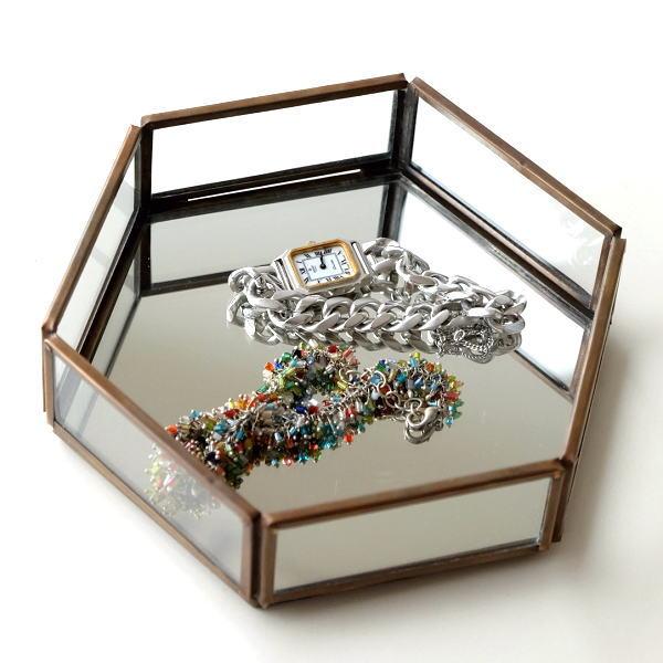 トレー トレイ 小物入れ おしゃれ アクセサリートレイ 小物置き 鏡 真鍮 六角形 卓上 小物 ディスプレイ シンプル アンティーク 六角ミラートレー [kan0982]