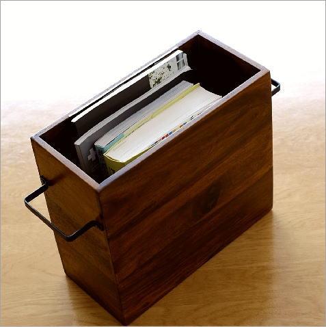マガジンラック 木製 おしゃれ スリム アンティーク アジアン 収納ボックス シーシャムウッドフリーボックス