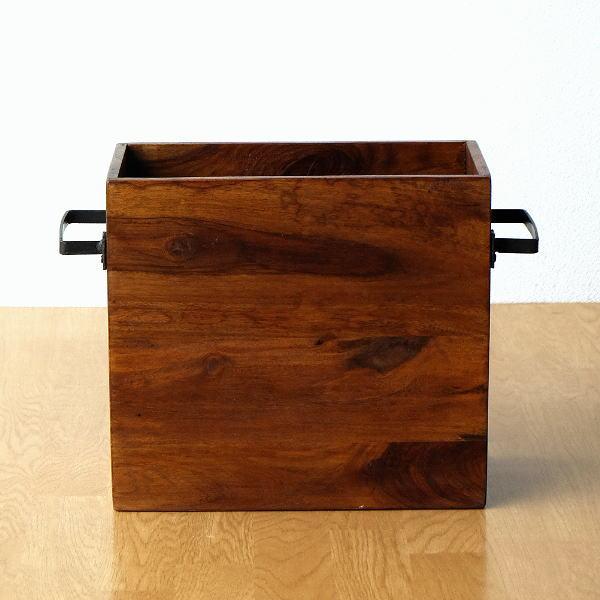 マガジンラック おしゃれ 木製 アイアン スリム 天然木 無垢材 ストッカー シーシャムウッドフリーボックス [kan1137]