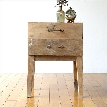 サイドチェスト サイドテーブル ベッドサイドテーブル 木製 おしゃれ レトロ アンティーク マンゴーウッドサイドチェスト A【送料無料】