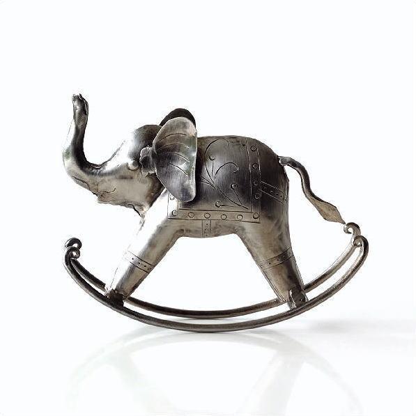象 ゾウ 置物 オブジェ インテリア 雑貨 レトロ シルバー ロッキングゾウ [kan1177]