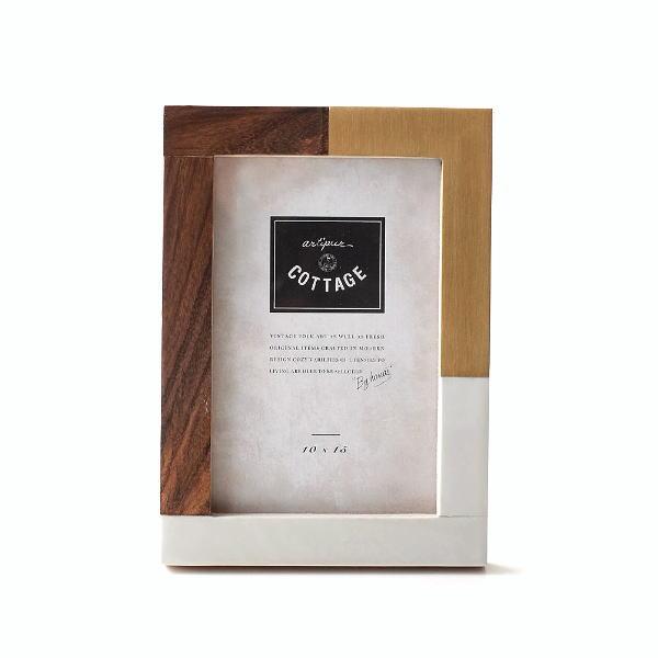 フォトフレーム 写真立て おしゃれ 木製 真鍮 L判 横置き モダン レトロ アンティーク エレガント プレゼント ウッド&ブラスレジンフォトフレーム L [kan1185]