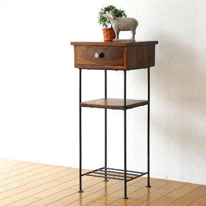 電話台 木製 アイアン スリム サイドテーブル 花台 ハイスタンド シーシャムとアイアンの電話台【送料無料】