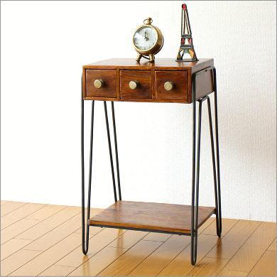サイドテーブル 木製 天然木 無垢材 アイアン 鉄脚 ウッドテーブル シーシャム3つ引き出しサイドテーブル【送料無料】