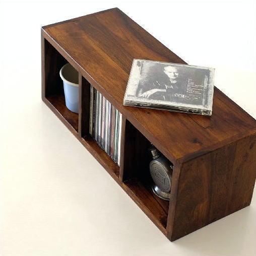 CDラック 木製 おしゃれ スリム 無垢材 天然木 仕切り 卓上収納 机上ラック インドのウッドCDラックS [kan130]