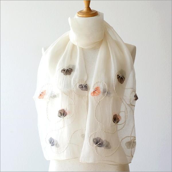コットンシルクシフォンフラワー刺繍ショール