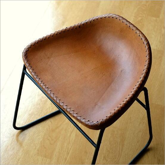 スツール アンティーク おしゃれ 椅子 いす イス チェア チェアー アイアンと本革のスツールA【送料無料】