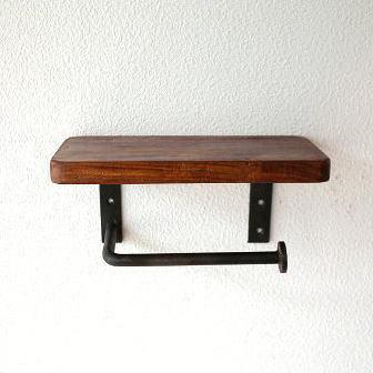 シンプルな木製棚付きトイレットペーパーホルダー