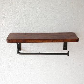 木製棚付きのシンプルな2連トイレットペーパーホルダー