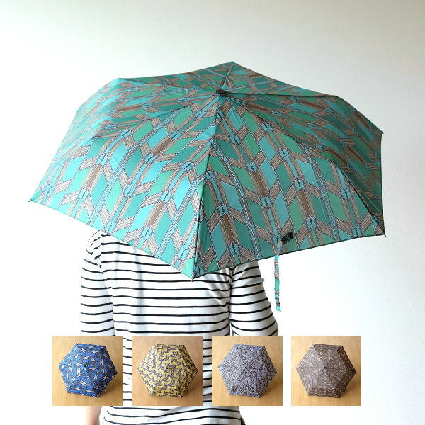 折りたたみ傘 おしゃれ 晴雨兼用 UVカット グリーン ブルー イエロー ホワイト ブラウン モダン デザイン 3段 直径90cm カンガプリント折りたたみ傘 5タイプ [kan1396]