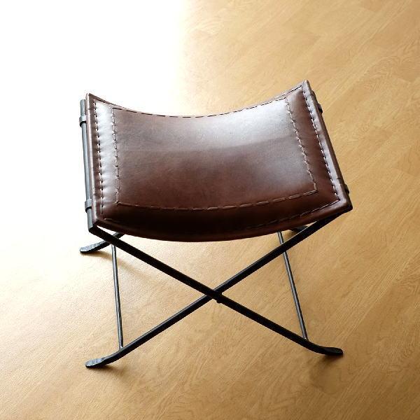 スツール 本革 椅子 いす アンティーク おしゃれ レザー チェア レトロ ベンチ ビンテージ 玄関 アイアンと本革の折りたたみスツール C 【送料無料】 [kan1430]