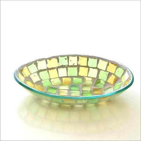 小物入れ アクセサリートレイ ガラス おしゃれ かわいい 卓上 トレー お皿 雑貨 収納 モザイクプレート イエロー