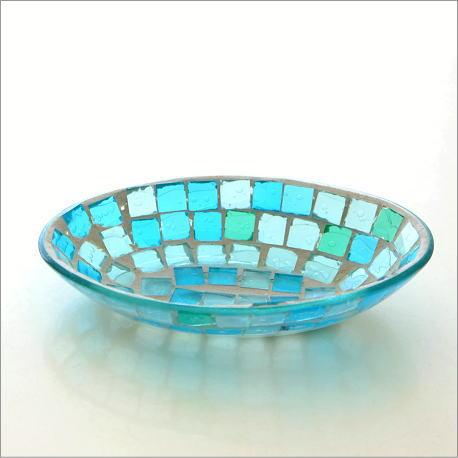 小物入れ アクセサリートレイ ガラス おしゃれ かわいい 卓上 トレー お皿 雑貨 収納 モザイクプレート ブルー