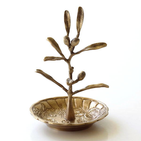 アクセサリースタンド おしゃれ トレー かわいい オリーブ 木 トレイ アンティーク 真鍮のアクセサリースタンド オリーブ [kan1800]