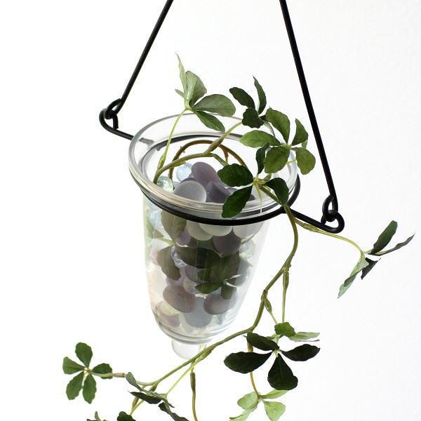 花瓶 フラワーベース 壁掛け おしゃれ 吊り下げ ハンギングベース アイアンとガラスの吊り下げベース [kan1901]