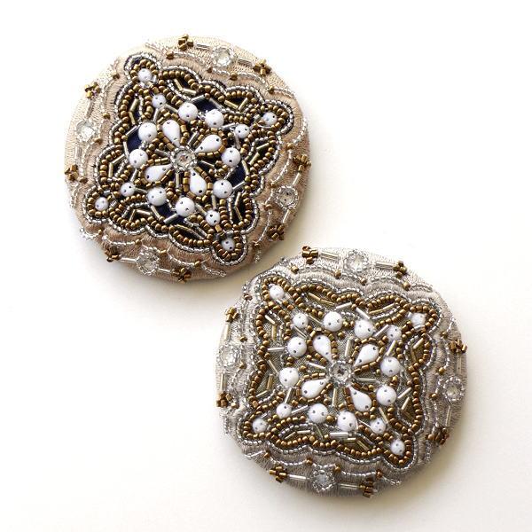 コンパクトミラー 手鏡 おしゃれ 小さい ビーズ刺繍 丸い ミニ ビーズ刺繍ミニミラーC 2カラー [kan1978]