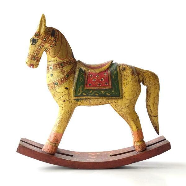 ロッキングホース 置物 おしゃれ 馬の置物 木彫り 木製 うま ウマ ウッドロッキングホース ペイントBE [kan2069]