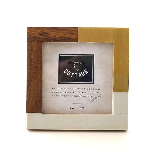 フォトフレーム 写真立て おしゃれ スクエア 木製 真鍮 モダン レトロ アンティーク エレガント ウッド&ブラスレジンフォトフレーム S [kan2093]