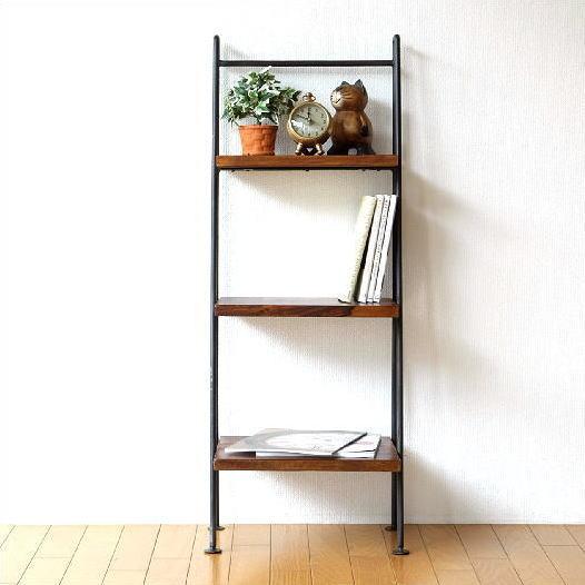 ラダーラック 棚 木製 飾り棚 おしゃれ アイアンとシーシャムの3段ラダーシェルフ【送料無料】