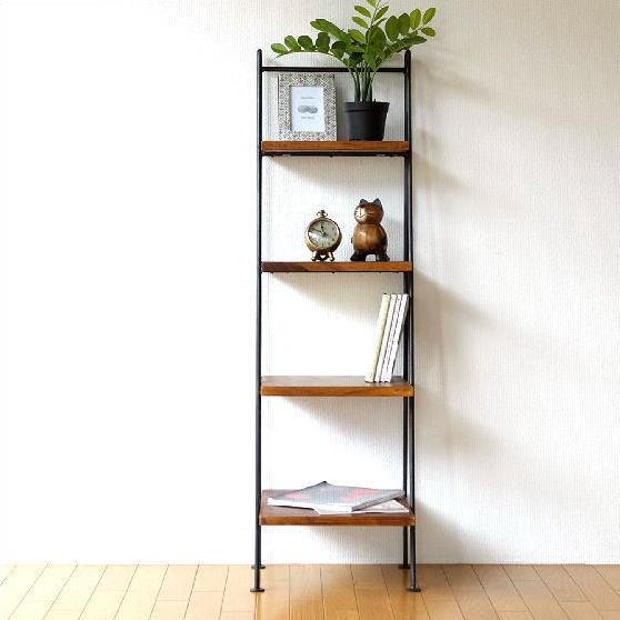 ラダーラック 棚 木製 飾り棚 おしゃれ アイアンとシーシャムの4段ラダーシェルフ【送料無料】