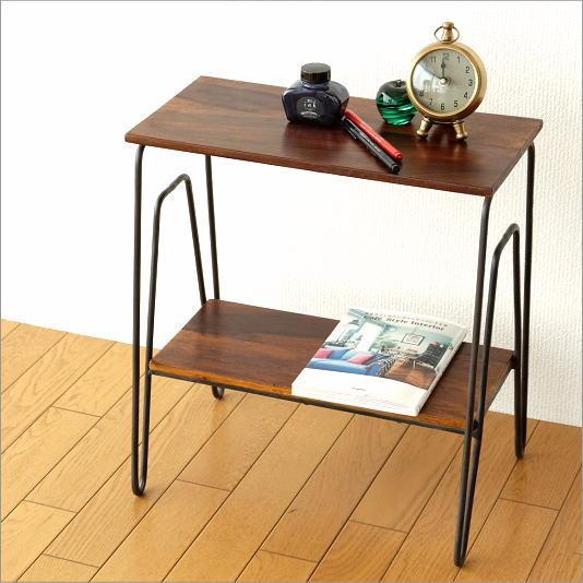 サイドテーブル おしゃれ 木製 アイアン ソファサイドテーブル ベッドサイドテーブル シーシャム2段サイドテーブル【送料無料】
