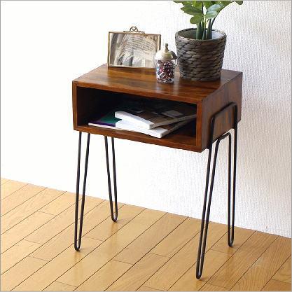 サイドテーブル 木製 天然木 無垢材 アイアン 鉄脚 ウッドテーブル シーシャムボックスサイドテーブル B【送料無料】