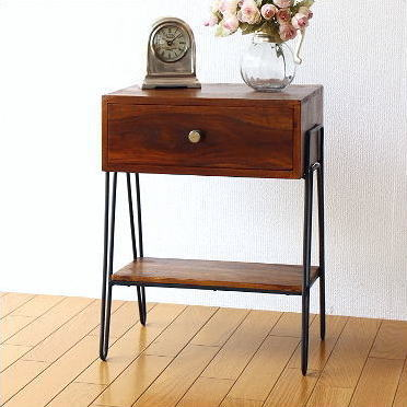 サイドテーブル 木製 天然木 無垢材 アイアン 鉄脚 ウッドテーブル シーシャムボックスサイドテーブル A【送料無料】