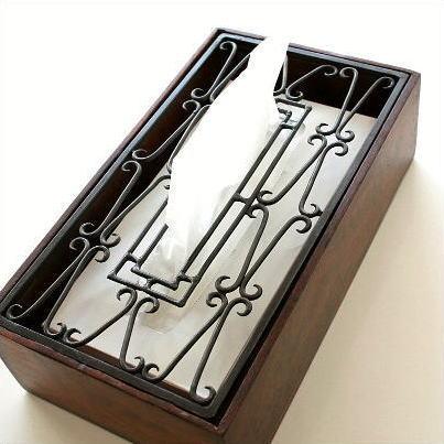 アイアンティッシュケース おしゃれ 天然木 木製 アンティーク風 アイアンティッシュケースボックス D