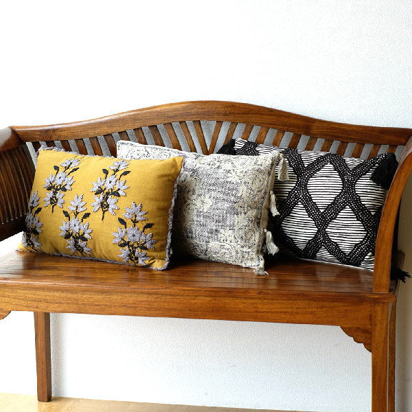 クッション 30×50cm 長方形 おしゃれ 刺繍 綿100% フリンジ タッセル ファスナー付き 刺繍レクタングルクッション3タイプ [kan2402]