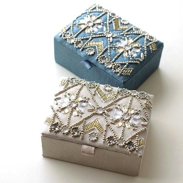 小物入れ アクセサリーケース ミラー ふた付き 刺繍 ビーズ かわいい おしゃれ 指輪 リングホルダー ミニケース ジュエリーケース ビーズ刺繍BOX 2カラー [kan2428]