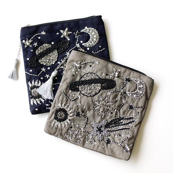 ポーチ 小物入れ おしゃれ マチなし かわいい ミニ ビーズ刺繍 宇宙 デザイン 小物 フラットポーチ 宇宙刺繍2カラー [kan2569]