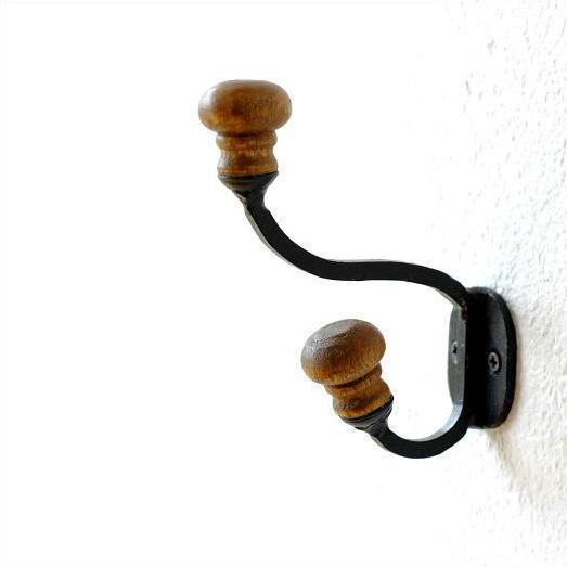 コートフック 帽子掛け 壁掛け ウォールフック 木製 アイアン コートハンガー コート掛け アイアンとウッドのコートフック [kan2789]