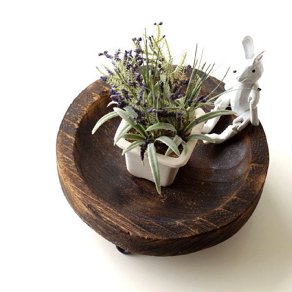 トレー 小物入れ 皿 プレート 木製 天然木 丸 卓上トレイ アクセサリートレイ 収納 花台 ラウンドウッドトレーL [kan2845]
