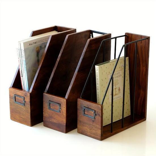 ファイルボックス 木製 A4 縦型 おしゃれ 天然木 無垢材 シーシャムウッド ファイルボックス3タイプ [kan2881]