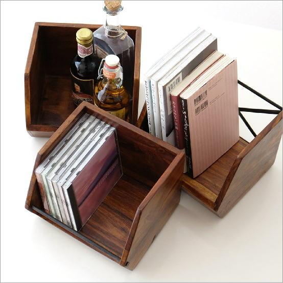 収納ボックス 木製 おしゃれ スタッキング 小物入れ 卓上 机上 キッチン スパイスラック CDラック 小物 整理 シーシャムウッド スタッキングボックス 3タイプ
