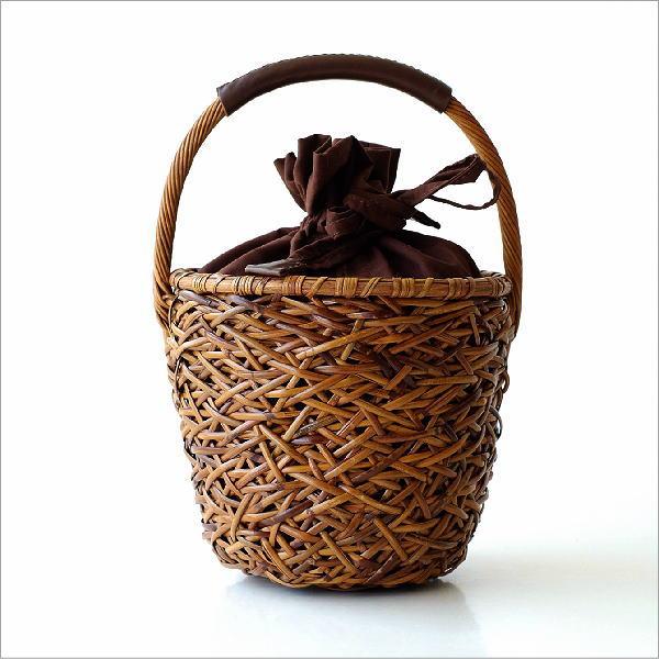 ラタンランダム編みバケツ型バッグ 【送料無料】