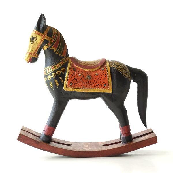 ロッキングホース 置物 おしゃれ 馬の置物 木彫り 木製 うま ウマ ウッドロッキングホース ペイントBK [kan3187]