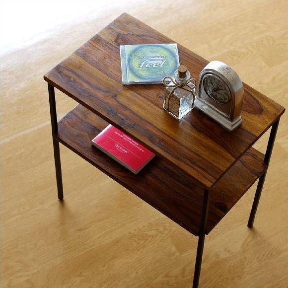 サイドテーブル 木製 アイアン 棚付き 天然木 無垢材 鉄脚 シーシャムサイドテーブル B 【送料無料】 [kan3304]