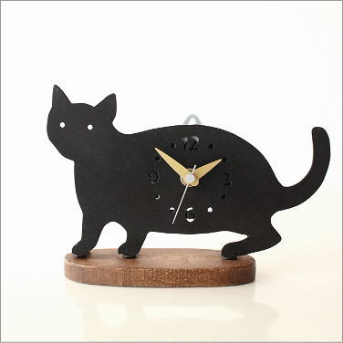 置時計 おしゃれ インテリア かわいい 猫雑貨 置物 クロネコの置き時計 B