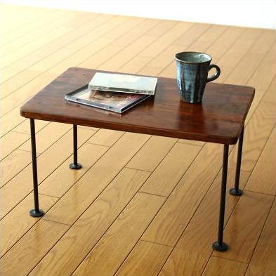 ミニテーブル 木製 ローテーブル 天然木 無垢 コンパクト アイアン シーシャムスモールテーブル
