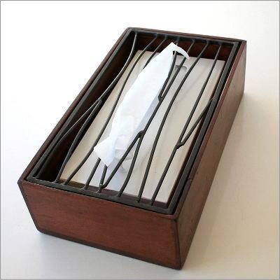 ティッシュケース おしゃれ 木製 ティッシュカバー アイアンティッシュケースボックス B