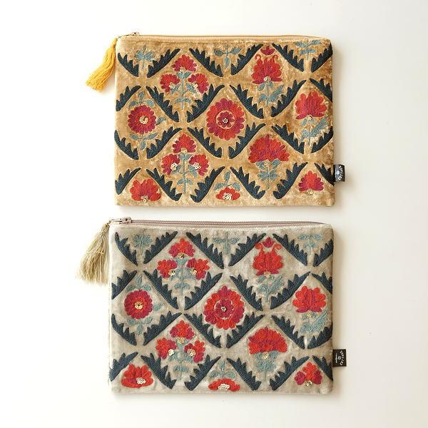 ベロア刺繍フラットポーチL 2カラー [kan3799]
