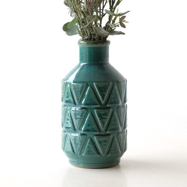 花瓶 おしゃれ 陶器 フラワーベース 花器 かわいい セラミックベース モダン アンティーク ブルーグリーン セラミックベース GN [kan3839]
