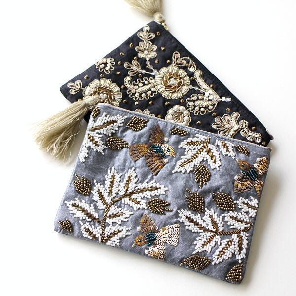 ポーチ 小物入れ おしゃれ マチなし かわいい ミニ ビーズ刺繍 デザイン ザリ&刺繍ポーチ 2カラー [kan3987]