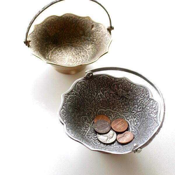 プレート トレー トレイ 真鍮 小物 皿 金属製 ゴールド シルバー おしゃれ アンティーク アクセサリートレイ 卓上 収納 ハンドル付きラウンドプレート2カラー [kan4177]
