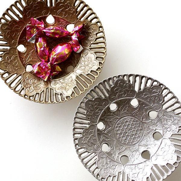 プレート トレー トレイ 真鍮 小物 皿 金属製 ゴールド シルバー レトロ おしゃれ アンティーク アクセサリートレイ 卓上 収納 ブラス透かしプレート2カラー [kan4181]