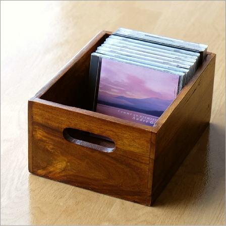 収納ボックス 小物入れ 木製 天然木 無垢 取っ手付き アジアン ナチュラル おしゃれ 木目 整理ボックス CDラック シーシャムウッドシンプルボックスS