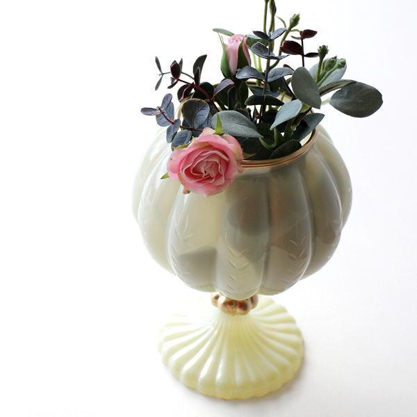 花瓶 ガラス おしゃれ フラワーベース かわいい レトロ アンティーク インドの手づくりガラスベース C [kan4235]