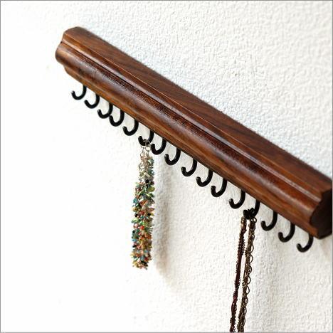 アクセサリーフック 壁掛け ジュエリーフック キーフック 鍵かけ 木製 アイアン シーシャムアクセサリーバーハンガー
